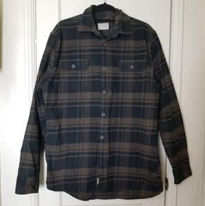 JACHS Tall brown black plain flannel shirt jacket